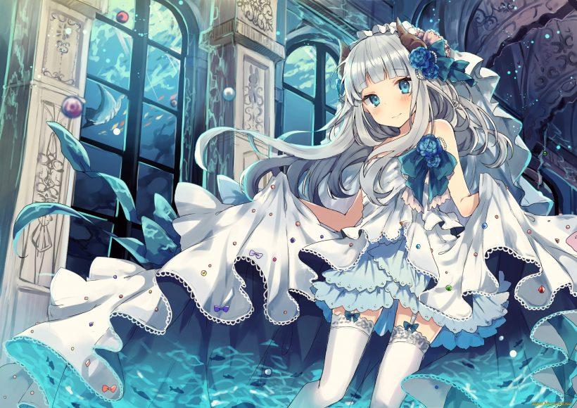 Hình ảnh anime girl tóc bạch kim đáng yêu