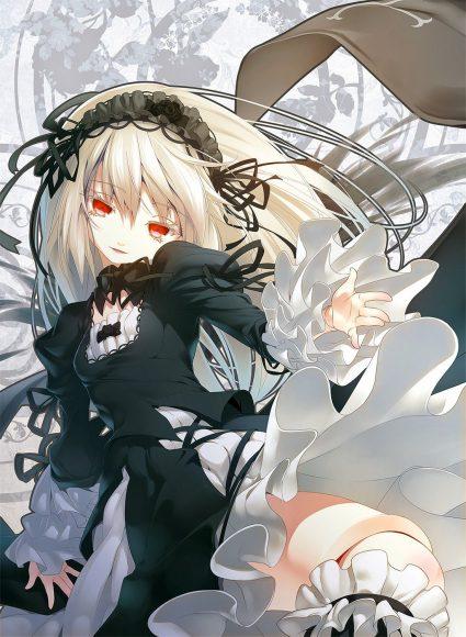 Hình ảnh anime girl tóc bạch kim quyến rũ