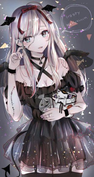 Hình ảnh anime girl tóc bạch kim xinh nhất