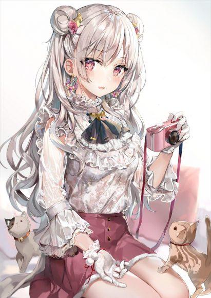 Hình ảnh anime girl tóc bạch kim xoăn dài