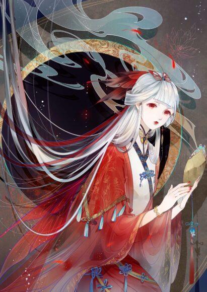 Hình ảnh anime girl tóc trắng cổ trang
