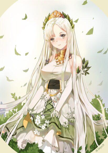 Hình ảnh anime girl tóc trắng dễ thương
