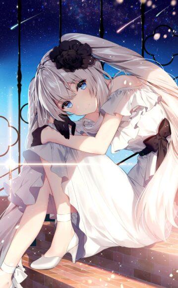 Hình ảnh anime girl tóc trắng thu hút