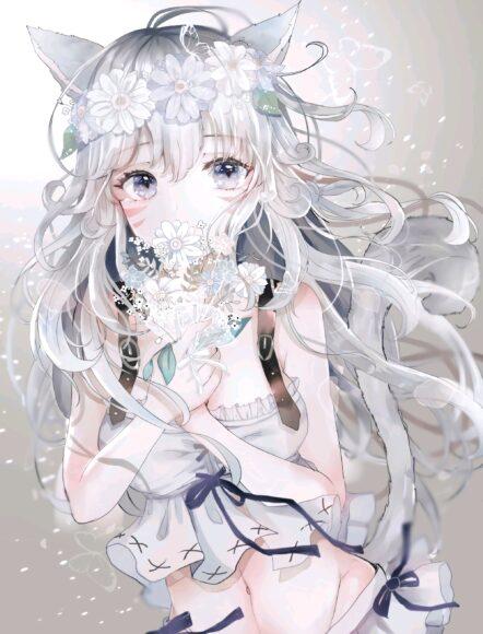 Hình ảnh anime girl tóc trắng xinh nhất