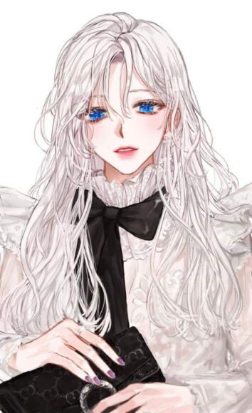 Hình ảnh anime girl tóc trắng xoăn xinh đẹp
