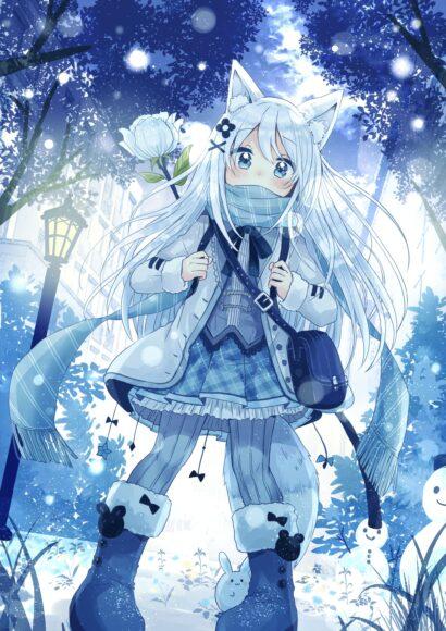 Hình ảnh anime mùa đông cô bé cute