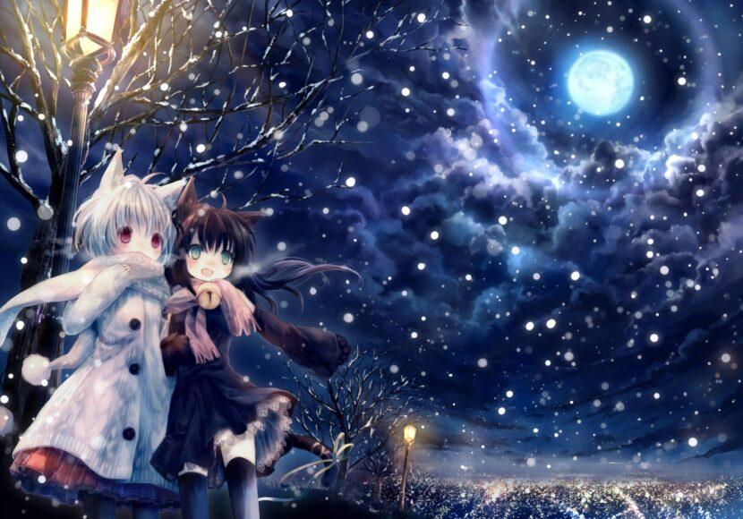Hình ảnh anime mùa đông của đôi bạn xinh đẹp