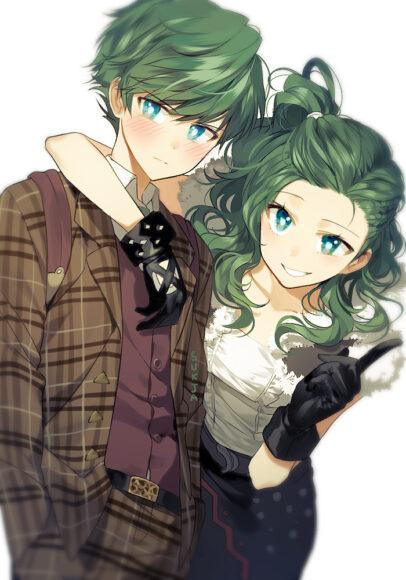 Hình ảnh anime tóc xanh cặp đôi