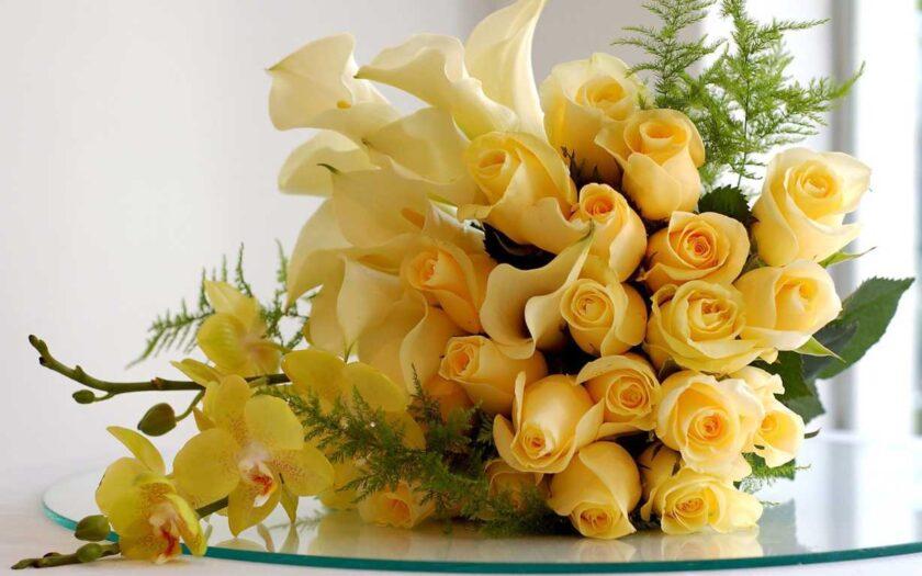 Hình ảnh bó hoa hồng vàng