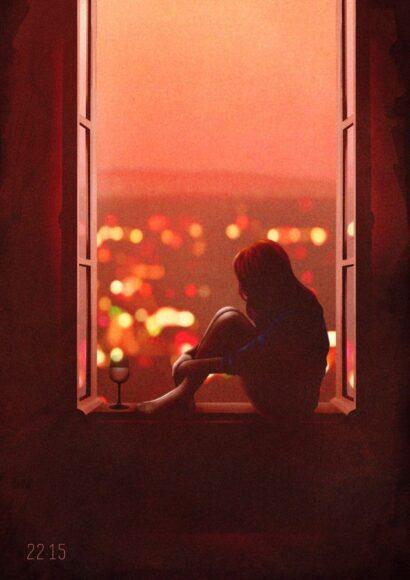 hình ảnh buồn khóc của cô gái trong chiều hoàng hôn