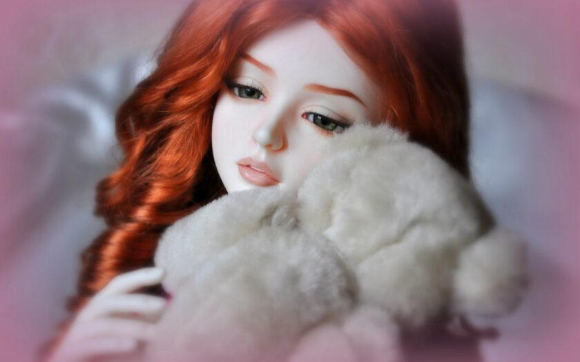 hình ảnh búp bê dễ thương và chú gấu bông