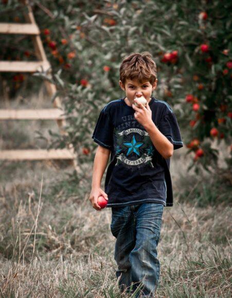 hình ảnh cậu bé đang ăn quả táo