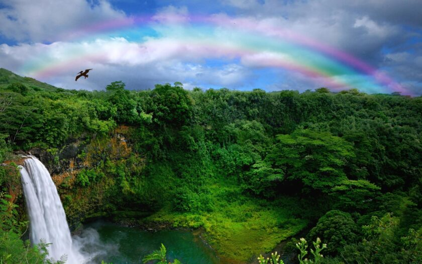 Hình ảnh cầu vồng và thác nước tuyệt đẹp