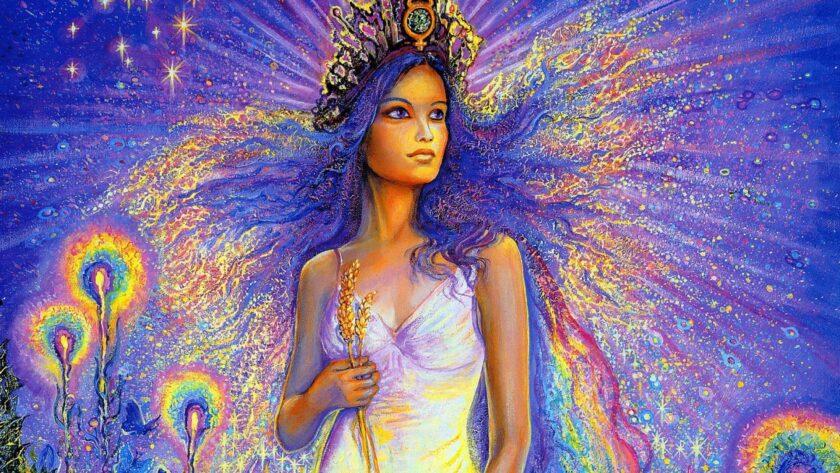hình ảnh cô gái mặc váy tráng cùng bó lúa đại diện cho cung Xử Nữ
