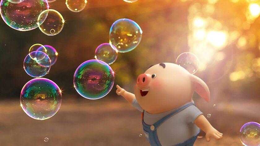 Hình ảnh con lợn và bong bóng xà phòng