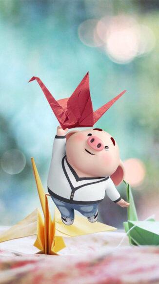 Hình ảnh con lợn và hạc giấy