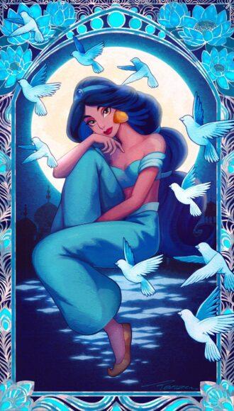 hình ảnh công chúa - Jasmine xinh đẹp mơ màng dưới ánh trăng tròn