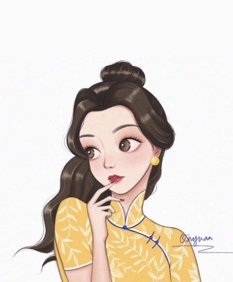 hình ảnh công chúa - nàng Belle với phong cách Trung Quốc mới lạ