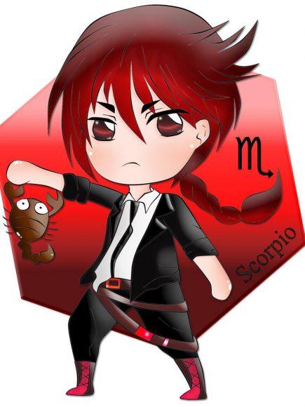 Hình ảnh cung Bọ Cạp chibi nam tóc đỏ