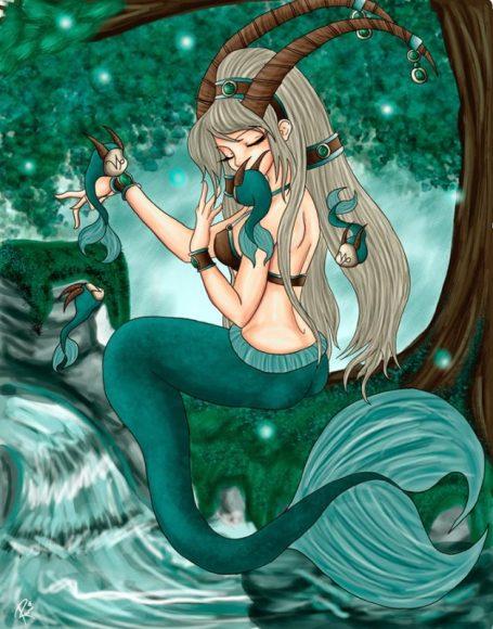 Hình ảnh cung Ma Kết nữ màu xanh lá