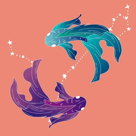 Hình ảnh cung Song Ngư màu hồng xanh tím