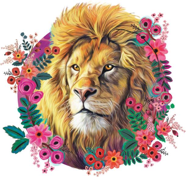 hình ảnh cung sư tử - sư tử và hoa nở t