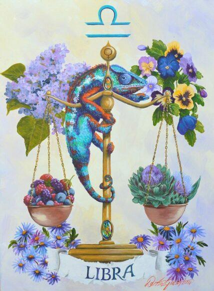 hình ảnh cung Thiên Bình - cán cân cùng hoa cỏ rực rỡ