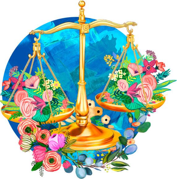 hình ảnh cung Thiên Bình - cán cân và hoa nở rộ xinh đẹp
