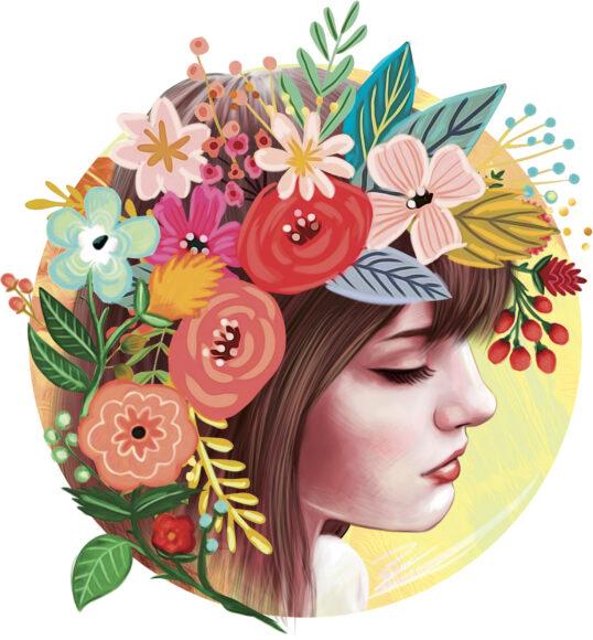 hình ảnh cung xử nữ - cô gái trầm mặc bên cạnh hoa cỏ muôn màu