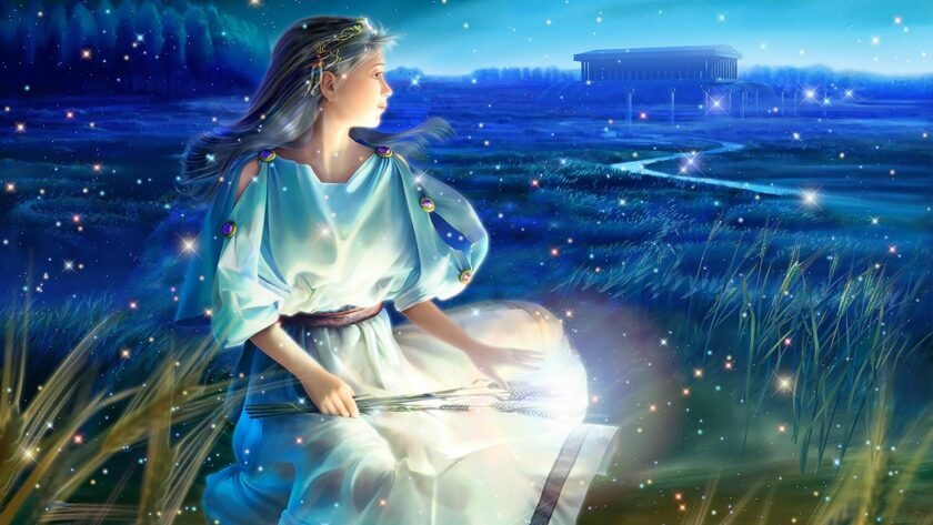 hình ảnh cung xử nữ - vị nữ thần hộ mệnh cùng bó lúa