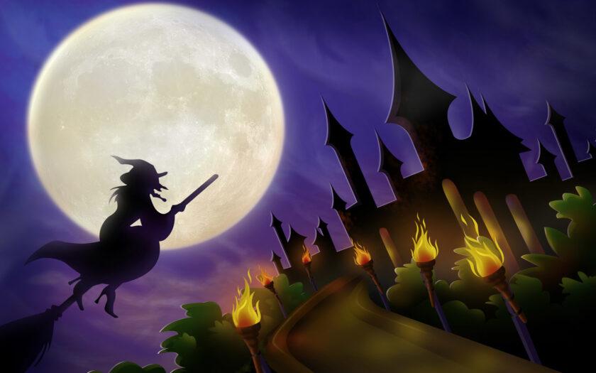 hình ảnh halloween dễ thương về bà phù thủy