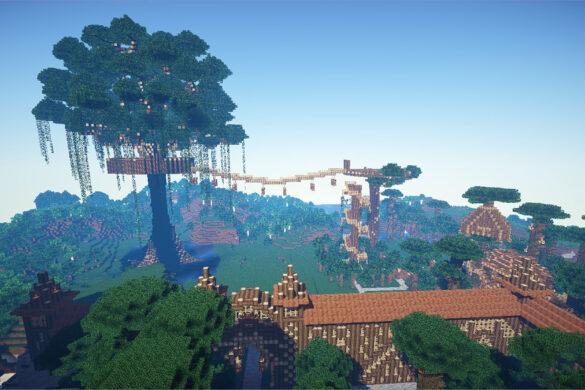 Hình ảnh minecraft 3D hệ thống nhà trên cây