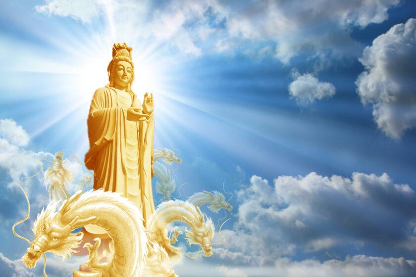 Hình ảnh Phật Quan Âm cưỡi rồng thăm thú nhân gian