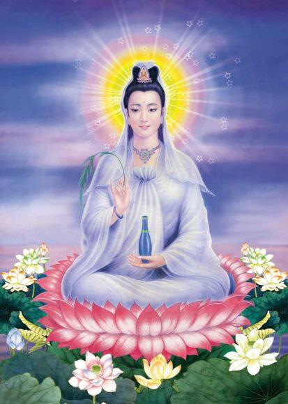 Hình ảnh Phật Quan Âm lấp lánh hào quang