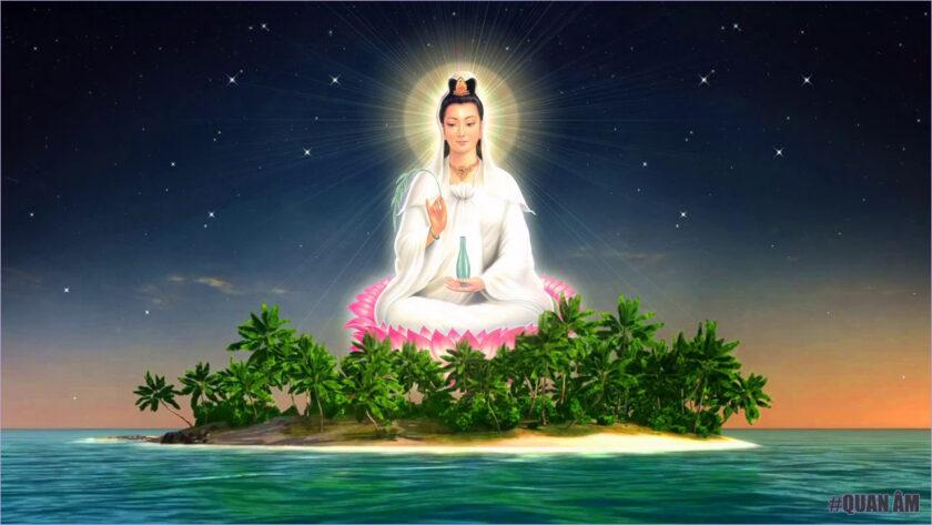 Hình ảnh Phật Quan Âm ngự trên biển
