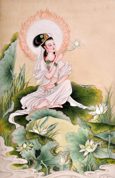 Hình ảnh Phật Quan Âm trên tòa sen