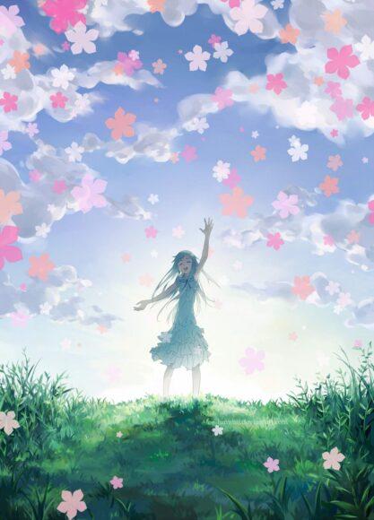 Hình ảnh tạm biệt cô gái và hoa