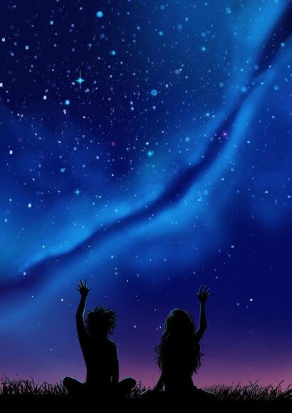 Hình ảnh tạm biệt dưới bầu trời đầy sao