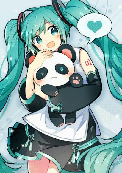 Hình anime tóc xanh cô gái và gấu trúc