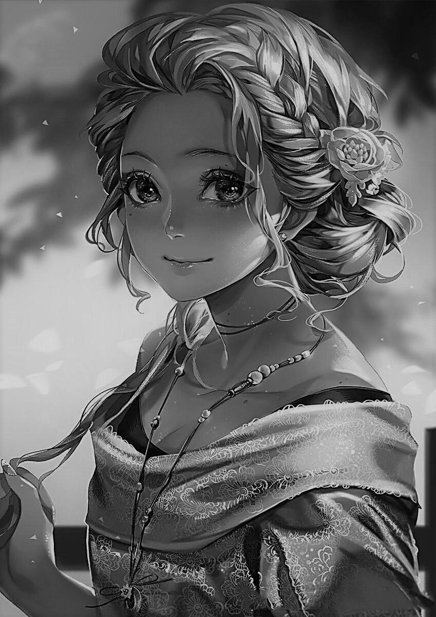 Hình anime trắng đen cô gái đẹp dịu dàng