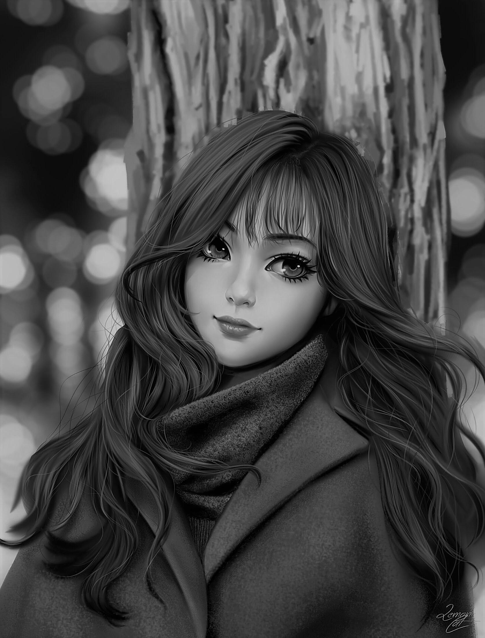 Hình anime trắng đen cô gái xinh đẹp
