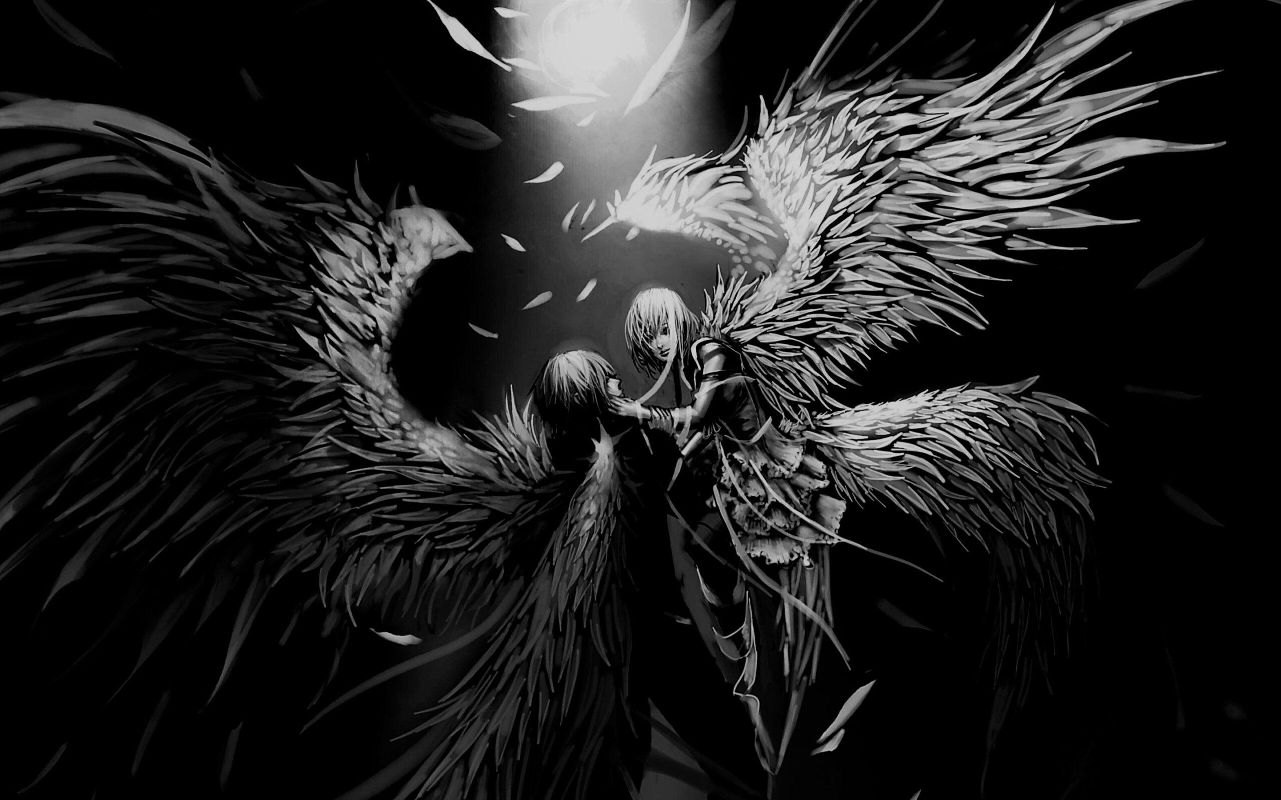 Hình anime trắng đen đôi cánh a