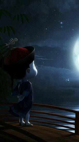 hình nền cương tiểu ngư ngắm trăng