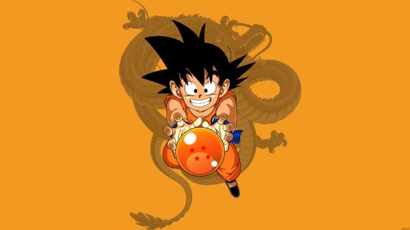 hình nền dragon ball về cậu nhóc có đuôi và rồng thiêng