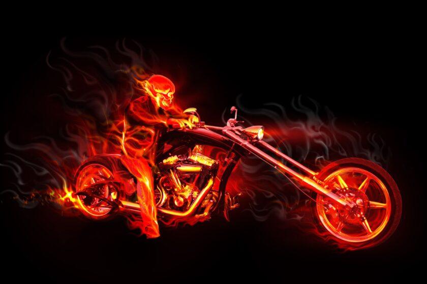 hình nền lửa về người trên chiếc xe moto