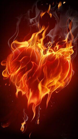 hình nền lửa về trái tim rực cháy