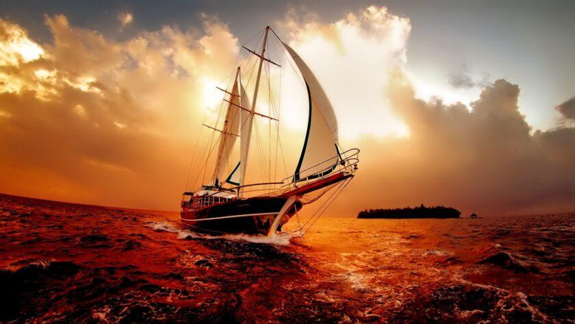 hình nền macbook chiếc thuyền trên biển