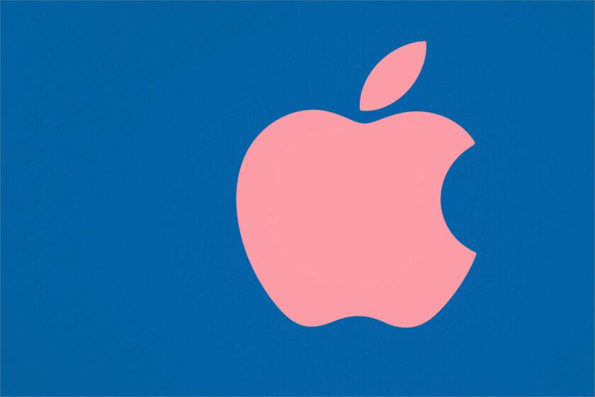 hình nền macbook nền xanh táo khuyết hồng