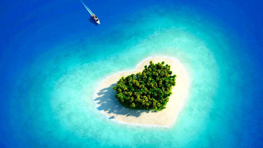 hình nền macbook về đảo hình trái tim