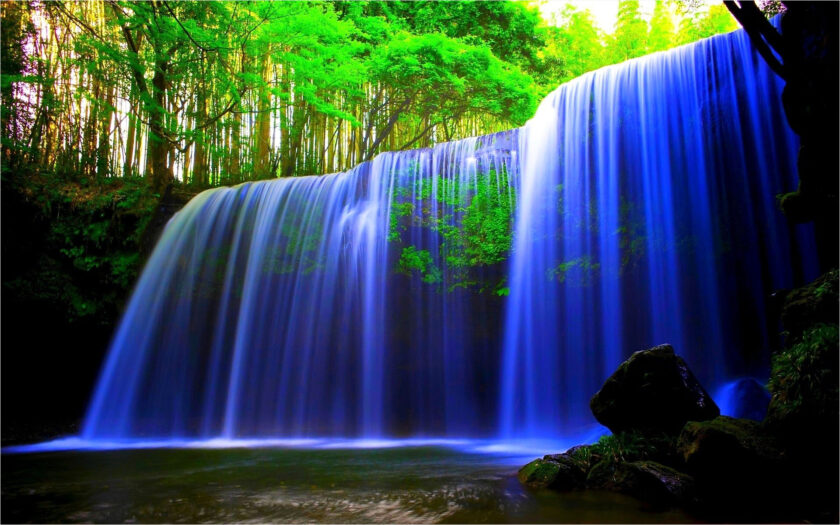 hình nền máy tính thiên nhiên về thác nước trong xanh